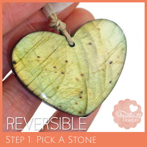 SYMMETRICAL,HEART,-,LE13,heart stone pendant, labradorite, heart shaped, domed, reversible, popnicute hearts, kharisma sommers, lopsided, orange, glow, chatoyance, green, dots