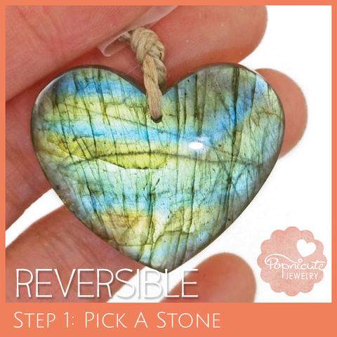 SYMMETRICAL,HEART,-,LE11,heart stone pendant, labradorite, heart shaped, domed, reversible, popnicute hearts, kharisma sommers, lopsided, blue, glow, chatoyance, green, dots