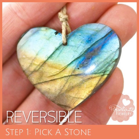SYMMETRICAL,HEART,-,LE09,S,heart stone pendant, labradorite, heart shaped, domed, reversible, popnicute hearts, kharisma sommers, blue, glow, chatoyance, orange, green
