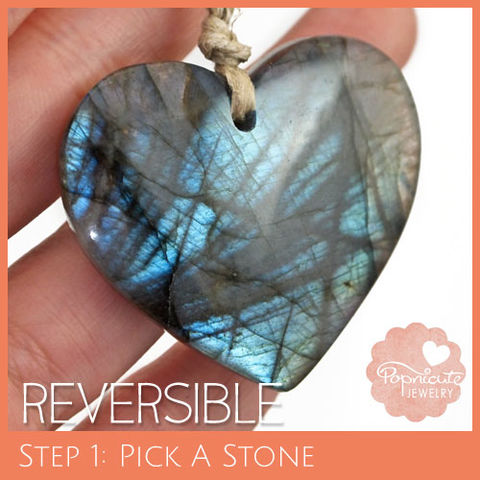 SYMMETRICAL,HEART,-,LE07,heart stone pendant, labradorite, heart shaped, domed, reversible, popnicute hearts, kharisma sommers, blue, glow, chatoyance, forest