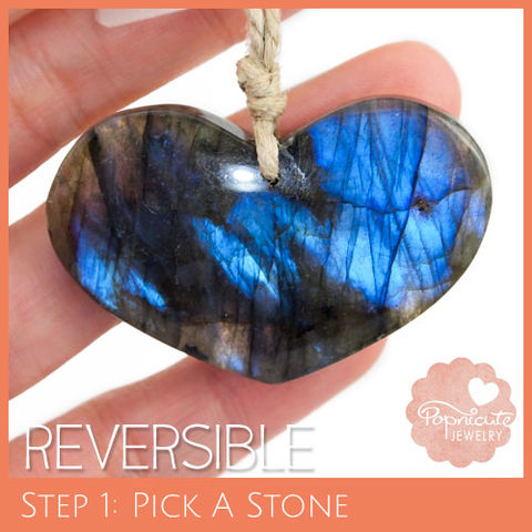 SYMMETRICAL,HEART,-,LE06,heart stone pendant, labradorite, heart shaped, domed, reversible, popnicute hearts, kharisma sommers, blue, glow, chatoyance, forest