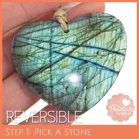 SYMMETRICAL,HEART,-,LE03,heart stone pendant, labradorite, heart shaped, domed, reversible, popnicute hearts, kharisma sommers, blue, glow, chatoyance, lines, green