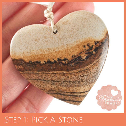 SYMMETRICAL,HEART,-,PJ01,heart stone pendant, picture jasper, landscape, heart shaped, popnicute hearts, kharisma sommers, orange, brown, tan, beige