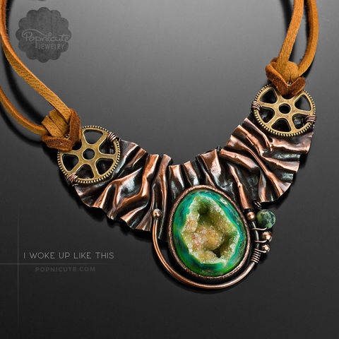 I,WOKE,UP,LIKE,THIS,copper necklace, popnicute jewelry, steampunk necklace, foldforming, foldform, agate pendant, drusy, druzy