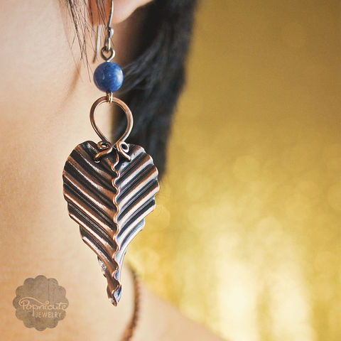 CORRUGATED,LAPIS,LAZULI,steampunk earrings, copper earrings, popnicute jewelry, unique earrings, foldforming, foldform jewelry