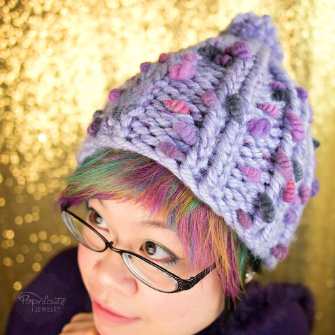 BERRY,PURPLE,warm winter hats, chunky beanie, handspun yarn, handmade hats, popnicute, stylish winter hat, thick and thin, purple hat, berries, lavender