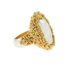 Organica,Ring,Baroque,Fresh,Water,Pearl,-,Gold,Baroque Pearl, Women's, ring, cocktail ring, fresh water pearl, white, gold, silver, Militza-Ortiz, statement pearl ring, statement ring,
