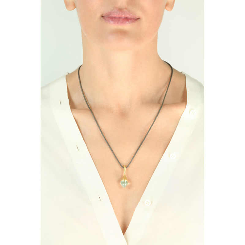 H20 Pendant Necklace Mint Quartz on 18ct Gold Vermeil - product image