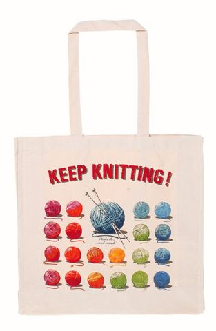 Keep,Knitting,Cotton,Tote,Bag,Cotton Knitting Bag