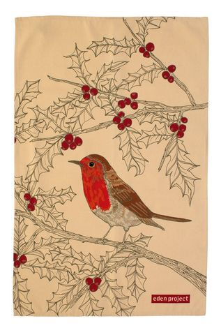 Eden,Project,Tea,Towel,Robin,on,Holly:,Ulster-Weaves-Eden-Project-Tea-Towel-Robin-on-Holly