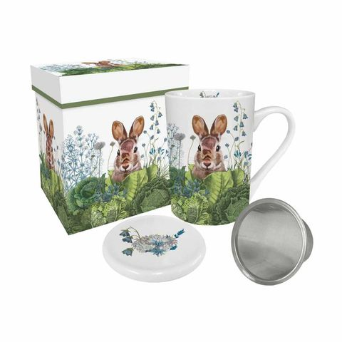 Bunny,Tea,Mug,with,Lid,and,Strainer,Gift,Boxed