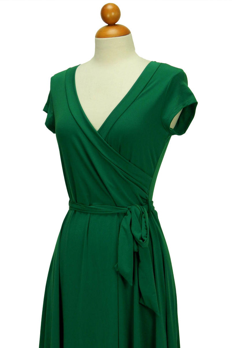 9e8f82a084 ... Janette fashion green cap sleeve wrap dress - product images of ...