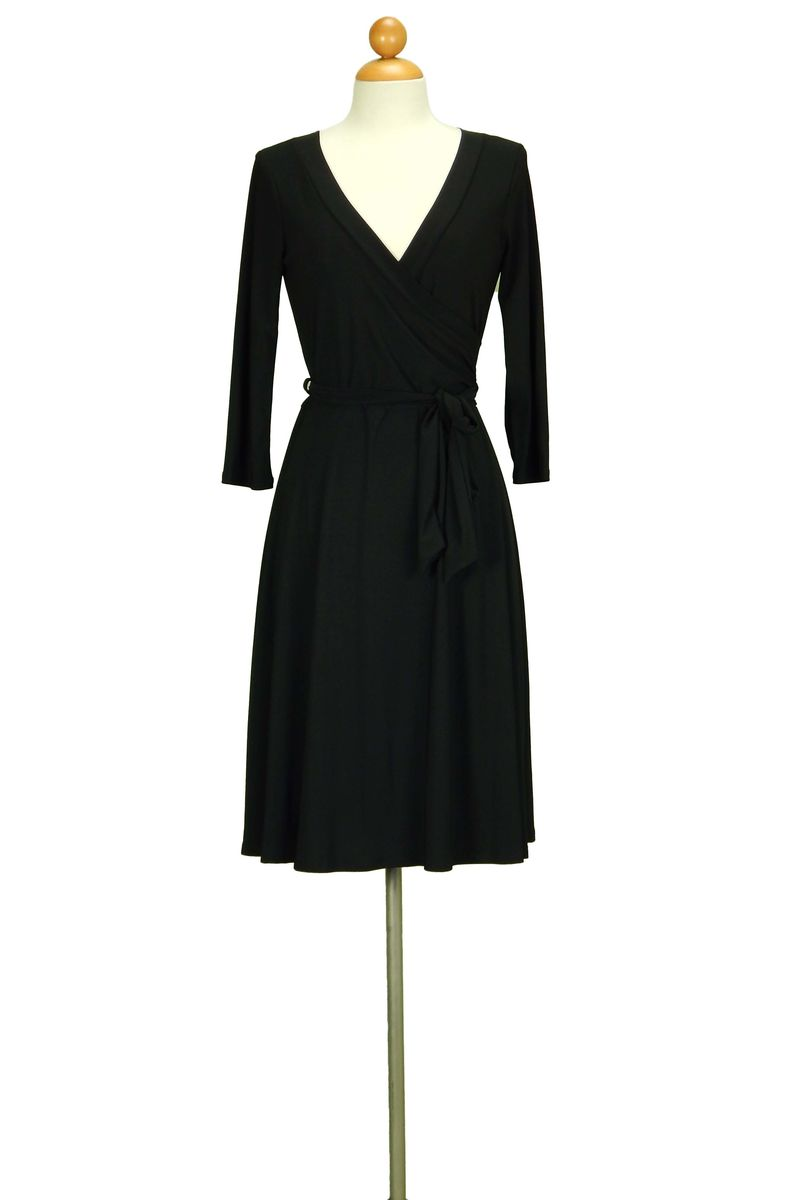Janette fashion black wrap dress - product images  of