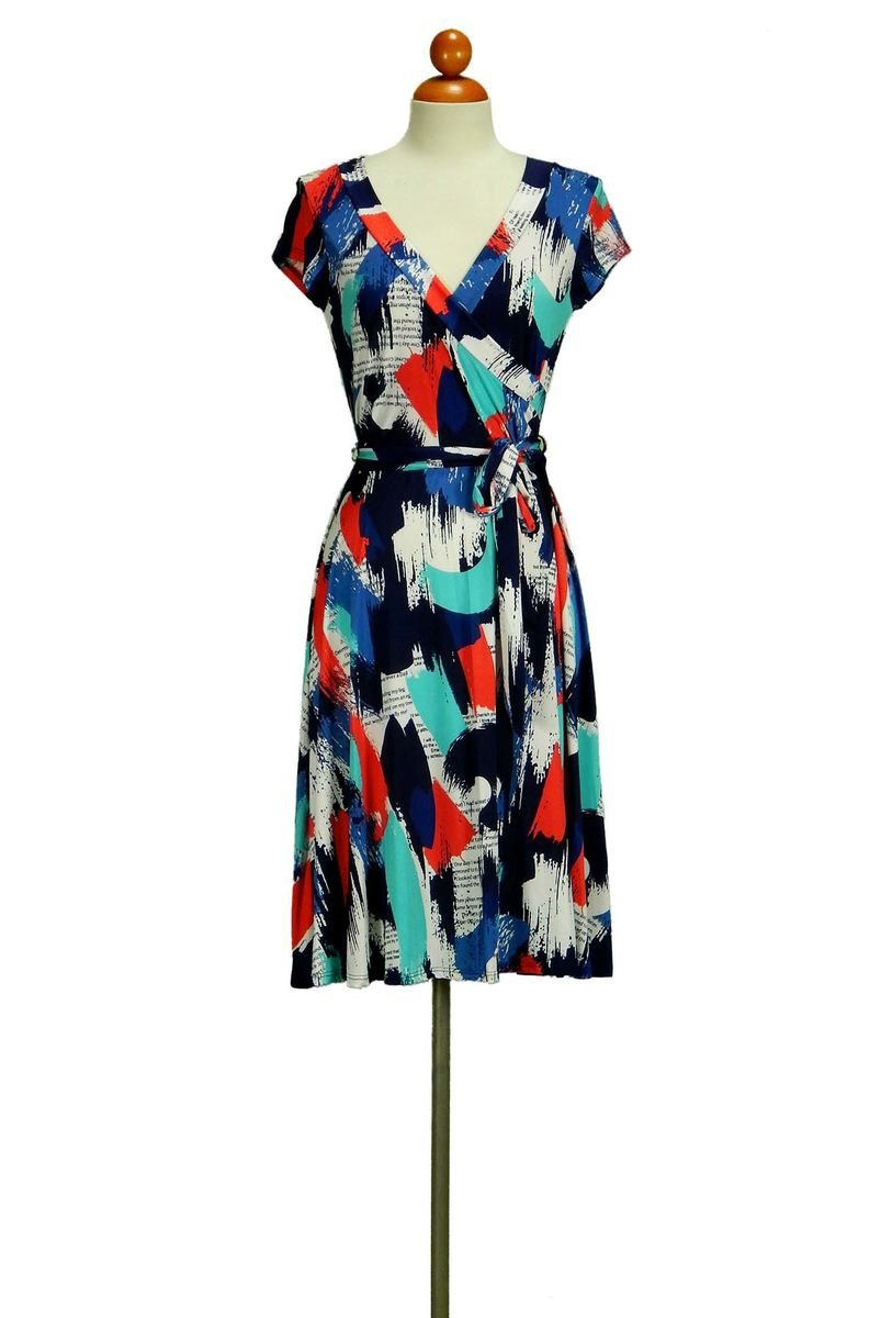 Janette fashion magazin print cap sleeve wrap dress - product images  of