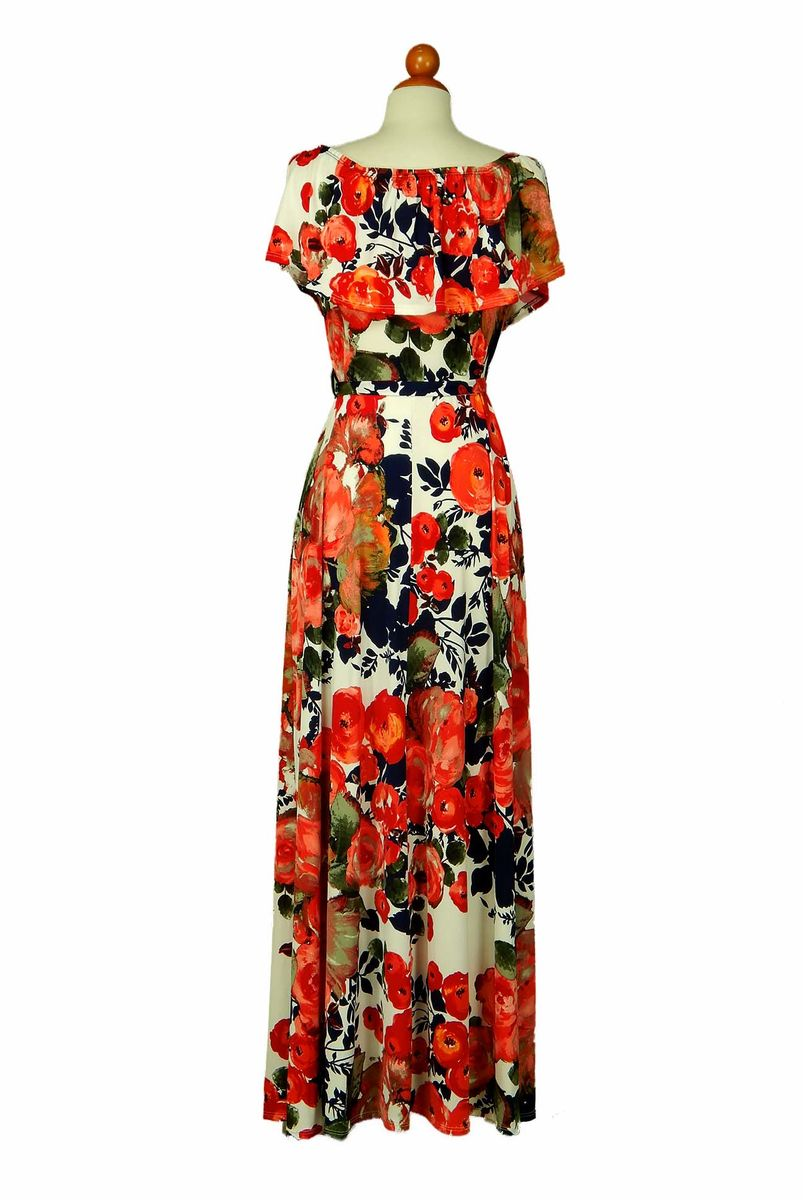 7ed5a44d8cc8 ... Peony in red orange off the shoulder maxi dress - product images of