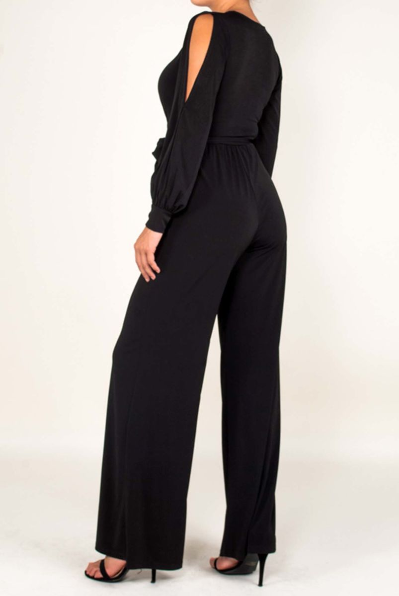 Black wrap jump-suit with long split cuff sleeves - product images  of