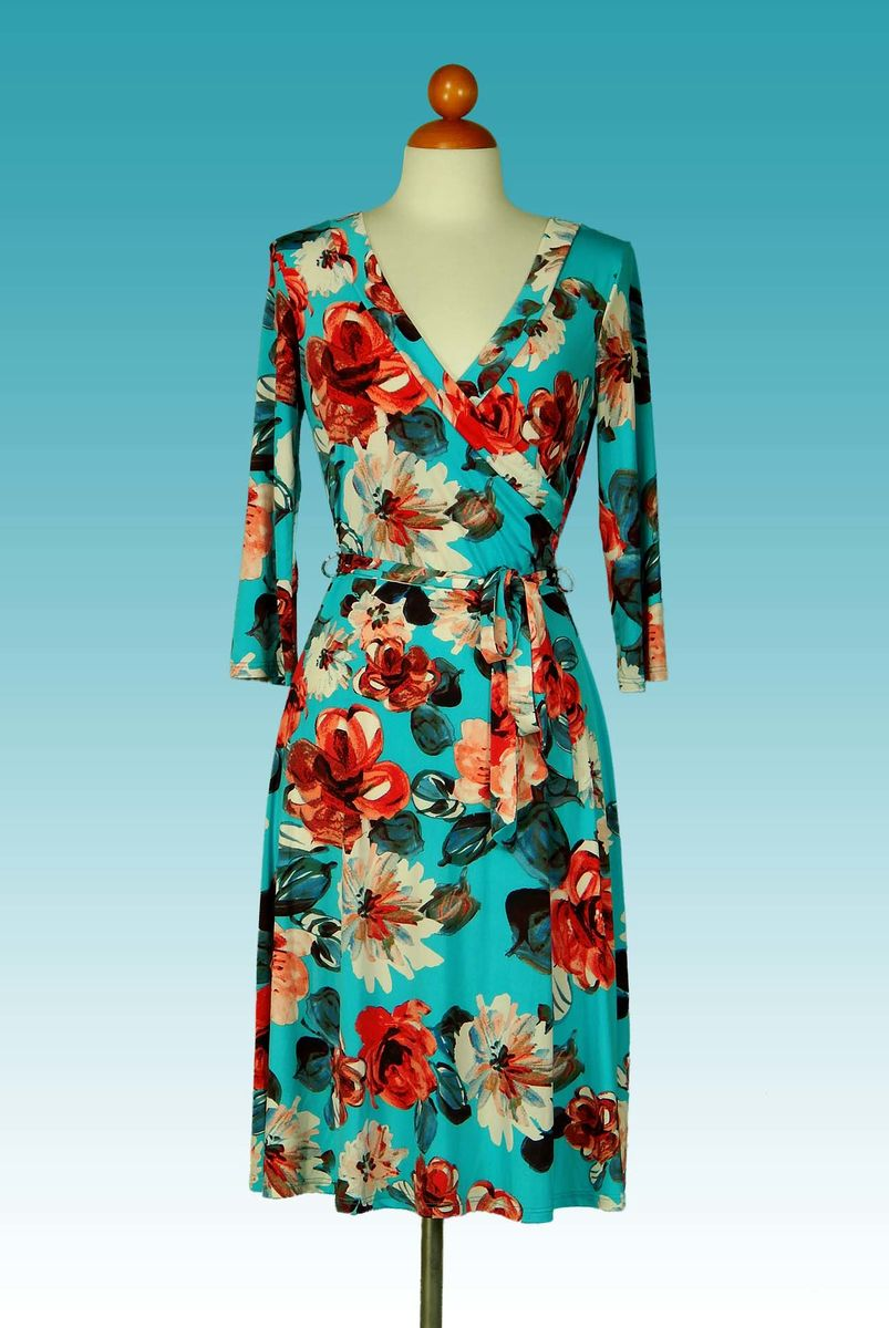 Peony in turquoise wrap dress - product images  of