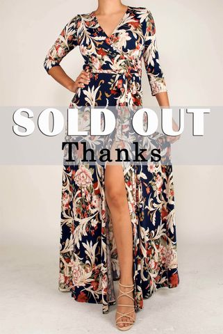 Navy,floral,in,slit,maxi,wrap,dress,red apparel, Janette fashion, Janette,Navy floral in slit maxi wrap dress, wrap dress