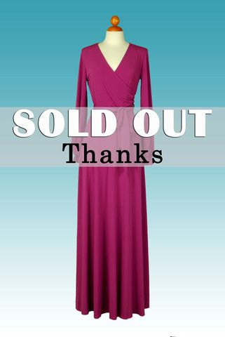 Magenta,long,closed,cuff,sleeve,maxi,wrap,dress,Magenta blue long closed cuff sleeve maxi wrap dress, red apparel, Janette fashion, wrap dress