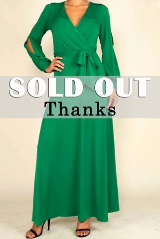 Green,long,split,cuff,sleeve,maxi,wrap,dress,red apparel, Janette fashion,Green long split cuff sleeve maxi wrap dress  , wrap dress