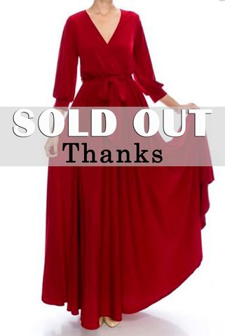 Burgundy,3/4,cuff,sleeve,with,large,sweep,maxi,wrap,dress,Burgundy 3/4 cuff sleeve with large sweep maxi wrap dress, redapparelonline, 6ws, Janette fashion, Janette, Maxi wrap dress, wrap dress, work dress, vacation dress, affordable wrap dress