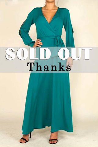 Kale,blue,long,split,cuff,sleeve,maxi,wrap,dress,red apparel, Janette fashion,Kale blue long split cuff sleeve maxi wrap dress  , wrap dress