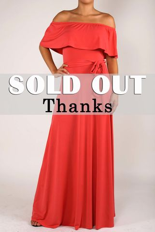 Coral,off,the,shoulder,maxi,dress,Coral off the shoulder maxi dress, red apparel, Janette fashion, Janette, off shoulder