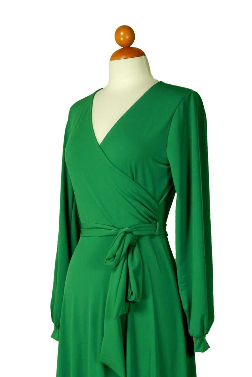 7794c9e69cb7 ... Green long closed cuff sleeve maxi wrap dress - product images ...
