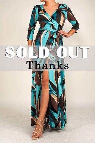 Swirls,in,turquoise,slit,maxi,wrap,dress,red apparel, Janette fashion, Swirls in turquoise slit maxi wrap dress, wrap dress