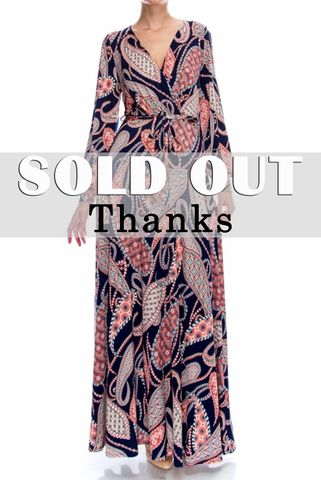 Gorgeous,paisley,Safari,long,split,cuff,sleeve,maxi,wrap,dress,red apparel, Gorgeous paisley Safari long split cuff sleeve maxi wrap dress  , wrap dress