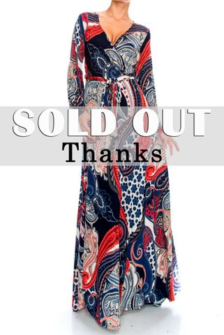 Persian,paisley,long,closed,cuff,sleeve,maxi,wrap,dress,red apparel, Janette fashion, Persian paisley long closed cuff sleeve maxi wrap dress  , wrap dress