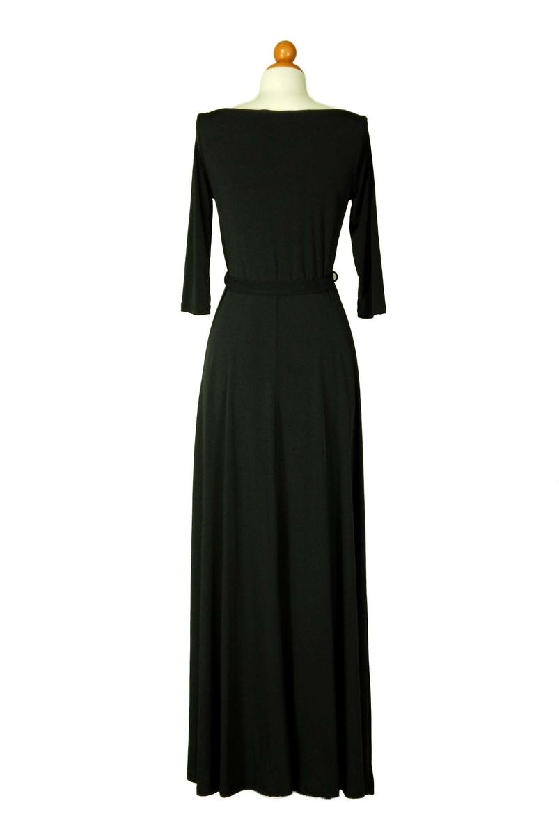 Solid black 3/4 sleeve boat neck maxi dress - product images  of