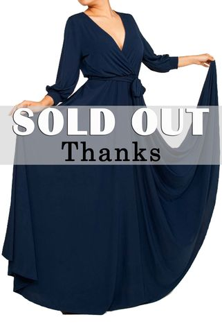 Navy,3/4,cuff,sleeve,with,large,sweep,maxi,wrap,dress,navy 3/4 cuff sleeve with large sweep maxi wrap dress, redapparelonline, 6ws, Janette fashion, Janette, Maxi wrap dress, wrap dress, work dress, vacation dress, affordable wrap dress