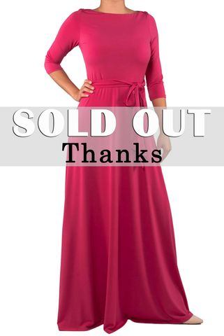 Solid,fuchsia,3/4,sleeve,boat,neck,maxi,dress,red apparel, Janette fashion, Janette, Solid fuchsia 3/4 sleeve boat neck maxi dress