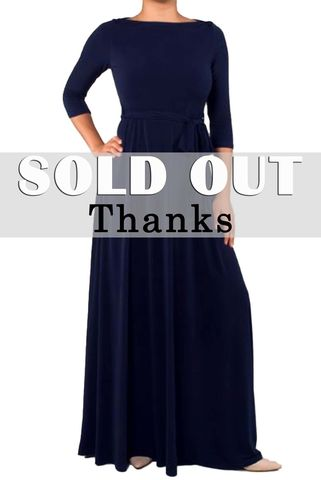 Dark,navy,3/4,sleeve,boat,neck,maxi,dress,red apparel, Janette fashion, Janette, Dark navy 3/4 sleeve boat neck maxi dress