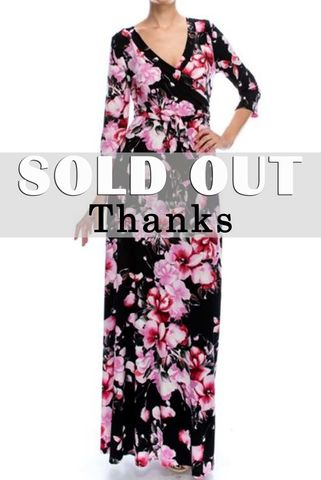 Blossom,in,cherry,pink,maxi,wrap,dress,(black),Blossom in cherry pink maxi wrap dress, redapparelonline, 6ws, Janette fashion, Janette, Maxi wrap dress, wrap dress, work dress, vacation dress, affordable wrap dress