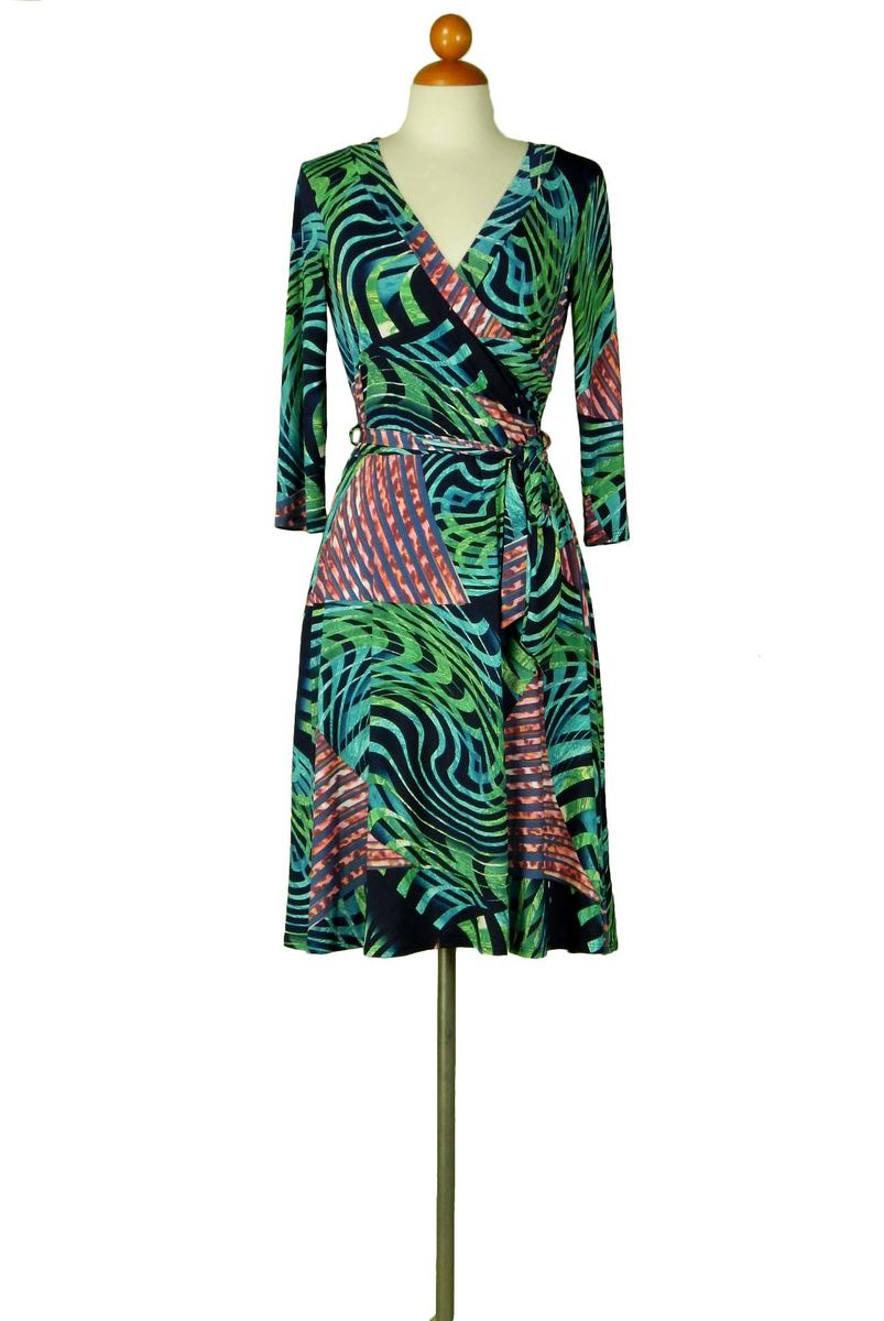 Curves in seaweed green wrap dress - product images  of