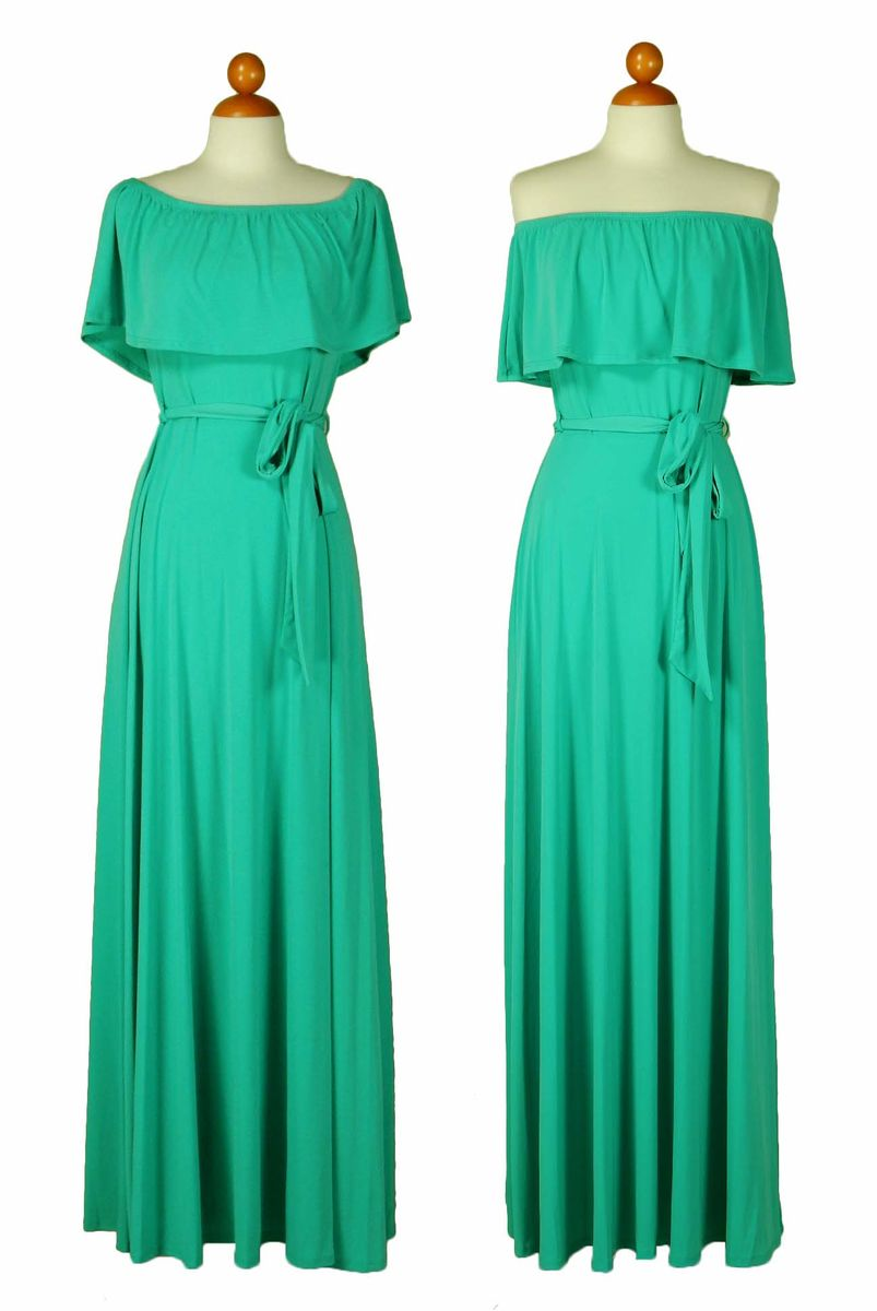 e52763d993bf ... Turquoise off the shoulder maxi dress - product images of ...
