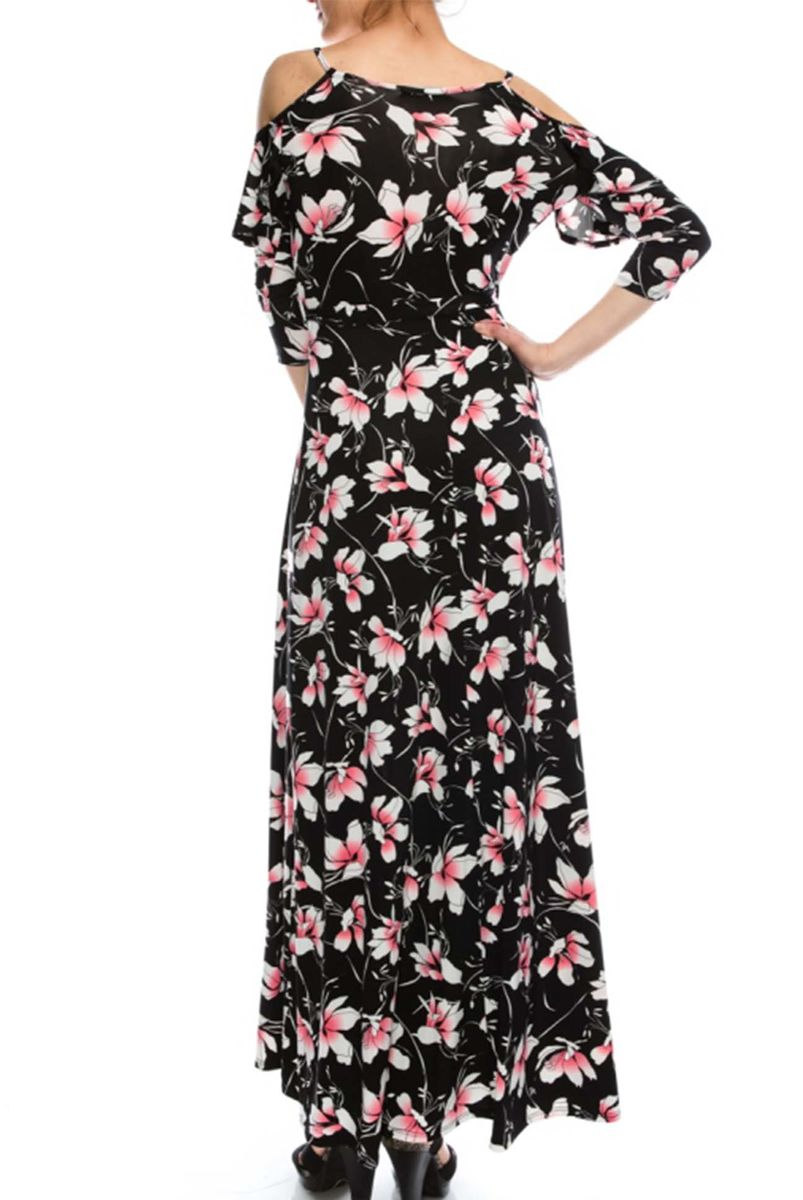 Blossom in pink black cold shoulder maxi dress - product images  of