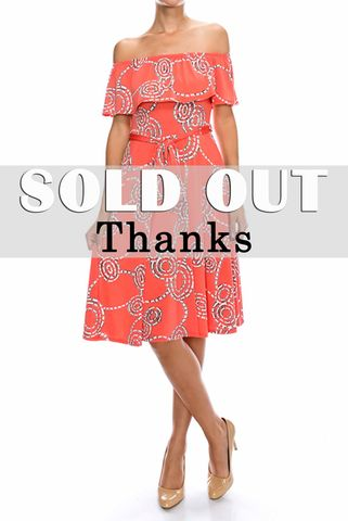 Connecting,dots,in,peach,off,the,shoulder,wrap,dress,red apparel, Connecting dots in peach off the shoulder wrap dress, wrap dress