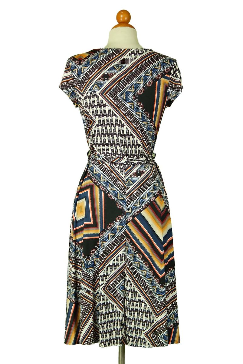 Mosaic cap sleeve wrap dress - product images  of