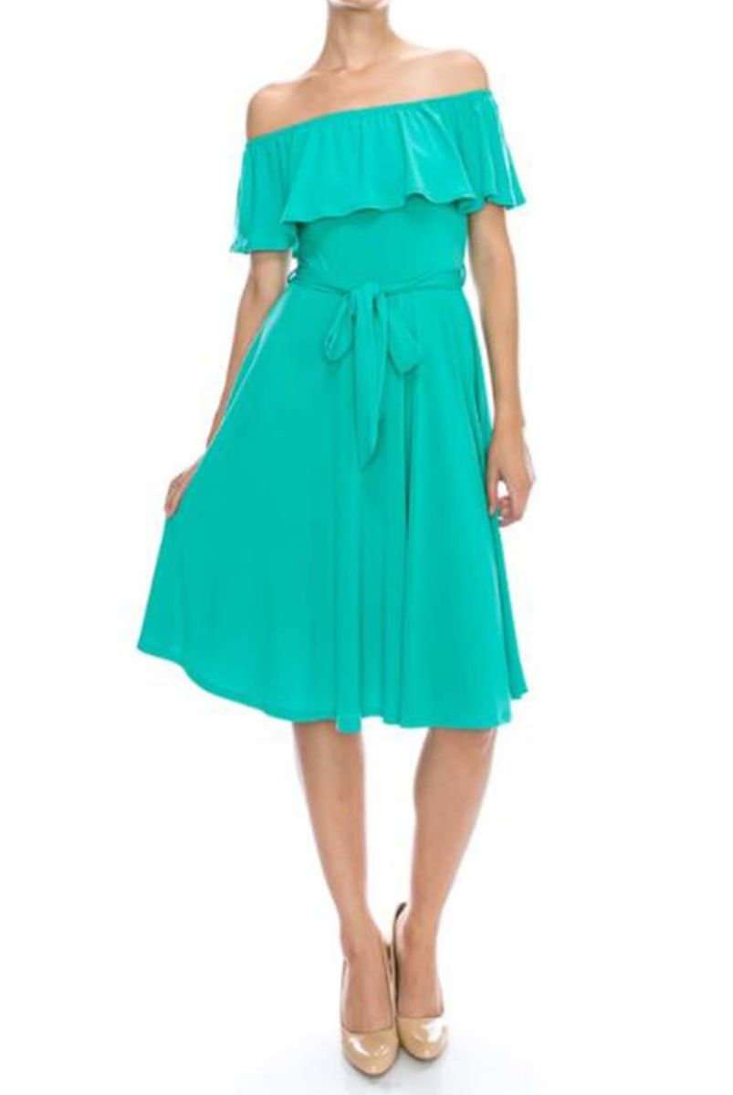 6c022f42bd59 ... Turquoise off the shoulder knee length maxi dress - product images of  ...