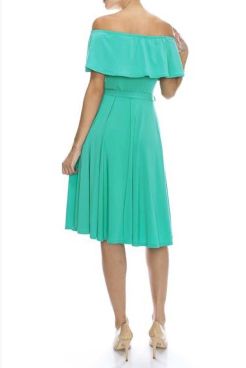 f6768423cb81 ... Turquoise off the shoulder knee length maxi dress - product images of  ...