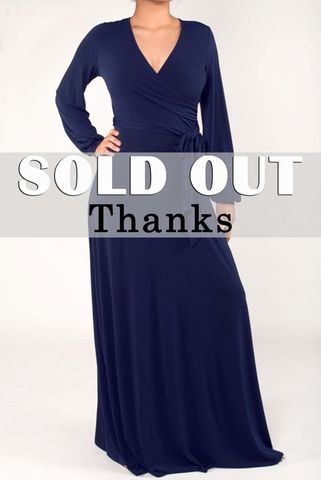 Navy,long,closed,cuff,sleeve,maxi,wrap,dress,Navy long closed cuff sleeve maxi wrap dress  , red apparel, Janette fashion, wrap dress
