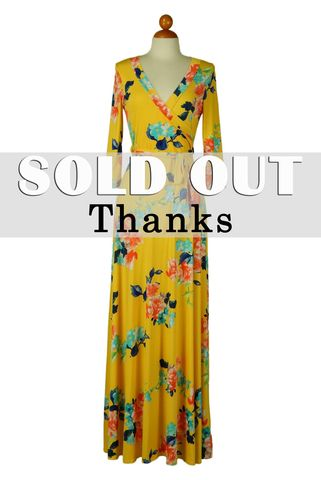 Sweet,floral,in,yellow,maxi,wrap,dress,red apparel, Janette fashion, Janette,Sweet floral in yellow maxi wrap dress