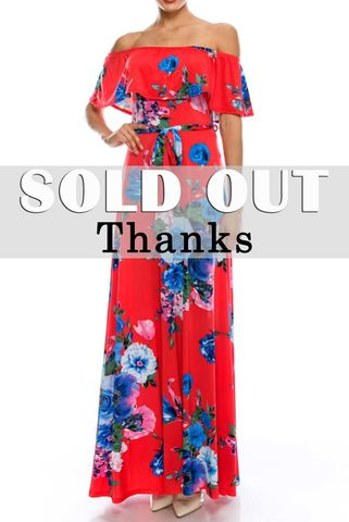 English,garden,red,blue,off,the,shoulder,maxi,dress,red apparel, Janette fashion,English garden red blue off the shoulder maxi dress