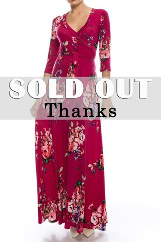 Rose,bouquet,in,magenta,maxi,wrap,dress,red apparel, Janette fashion, Janette,Rose bouquet in magenta maxi wrap dress, wrap dress