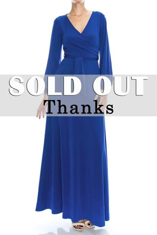 Royal,blue,long,closed,cuff,sleeve,maxi,wrap,dress,Royal blue long closed cuff sleeve maxi wrap dress, red apparel, Janette fashion, wrap dress