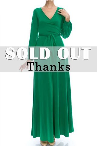 Green,long,closed,cuff,sleeve,maxi,wrap,dress,Green long closed cuff sleeve maxi wrap dress  , red apparel, Janette fashion, wrap dress
