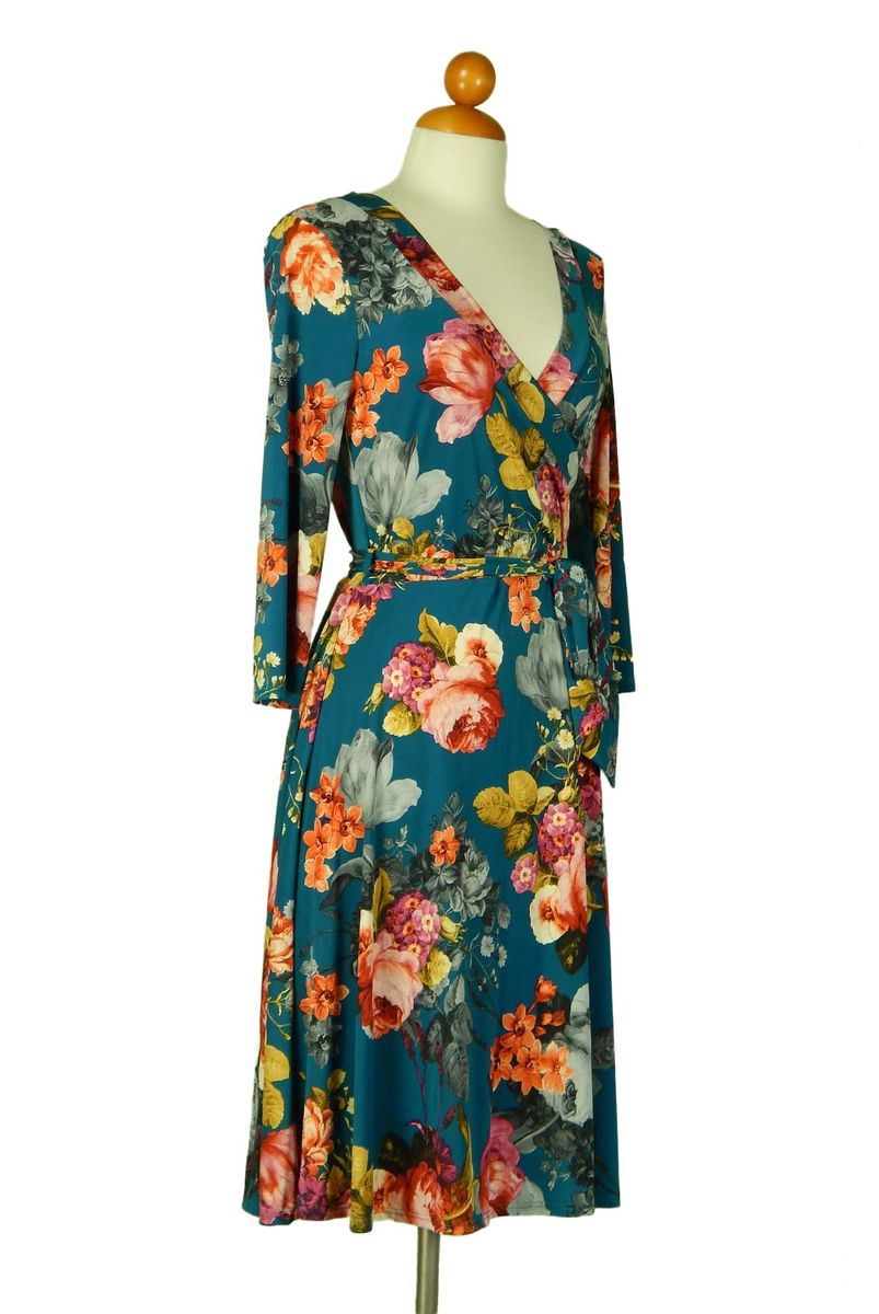 Romantic floral in teal blue wrap dress - product images  of